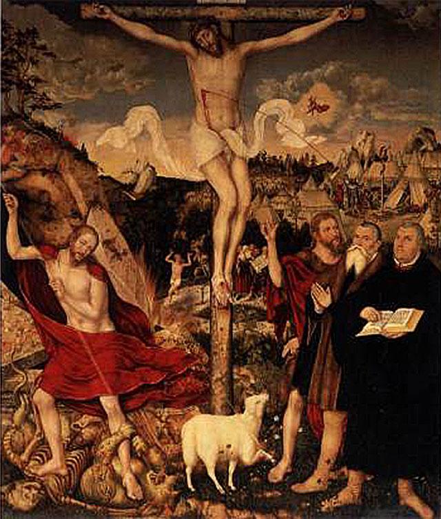 Le retable de Weimar, peint sur bois, avec Luther au pied du crucifix, Lucas Cranach