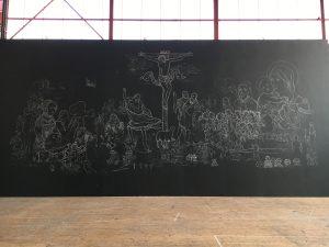 Réalisation de la fresque aux ateliers du TNS